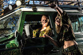 Girls and off-road vehicle — Foto Stock
