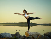 Yoga in the morning — Stock Photo