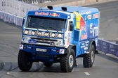 Vladimir Chagin, Sergey Savostin, Eduard Nikolaev of Team Kamaz Master at Bavaria Moscow City Racing 2010 — Stock Photo