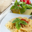 Spaghetti with tomatoes — Stock Photo #12686791