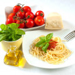 Stock Photo: Spaghetti with tomatoes