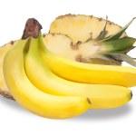 Banana and pineapple — Stock Photo