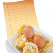 Egg and pasta — Stockfoto