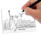 Kreslení new york — Stock fotografie
