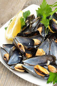 Ref mussels with lemon — Stockfoto