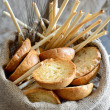 Freselle of bread in sack — 图库照片