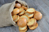 Freselle of bread in sack — Stock fotografie