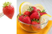 Strawberries and lemon — Stock Photo
