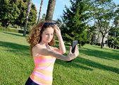 Girl selfing — Stock Photo