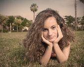 Beautiful teenager thinking — Stock Photo