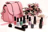 Bag and nail polish — Stock Photo