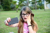 Selfie in the park — Stock Photo