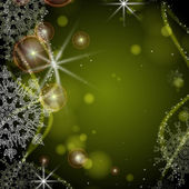 Green background with snowflakes. — Stock Vector