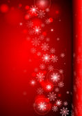 Red background with snowflakes. — Stock Vector