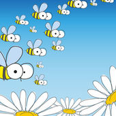 Bee and daisy. — Stock Vector