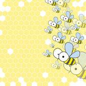 Abeilles et nid d'abeille. fond de printemps. — Vecteur