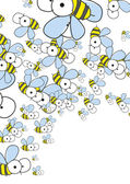 White background with bees. Spring background. — Stock Vector