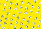 Gele achtergrond met bijen. — Stockvector
