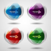 Set of translucent crystal ball. — Stock Vector