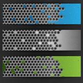 Hexagon Metal Banner. — Stock Vector