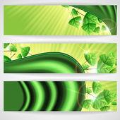 Fond d'eco vert avec feuilles. — Vecteur
