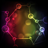Neon Molecule Background. — Vecteur