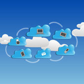 Cloud Сomputing Сoncept. — Stok Vektör