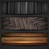 Wooden grey banner. — Stock Vector