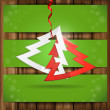 Simple Paper Christmas Tree. — Stock Vector