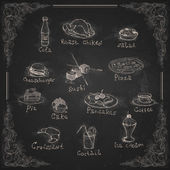 Design Elements For The Menu On The Chalkboard. — Stock Vector