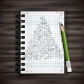 Hand Drawn Christmas Set. — Stock Vector