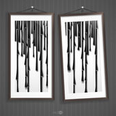 Two  Frames Of Picture On A Striped Old Wall. — Stock Vector