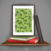 Wood Shelf With Photo Frame. — Stockvector