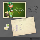 St. Patrick's Day. Leprechaun With Pot Of Gold. — Stock Vector