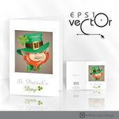 St Patrick's Day Leprechaun Face. — Stock Vector