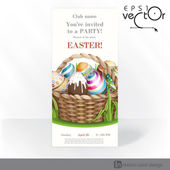 Easter Background With A Basket Full Easter Eggs. — Stock vektor