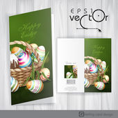 Easter Background With A Basket Full Easter Eggs. — Vecteur