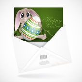 Easter Bunny With Colorful Egg. — Stock Vector