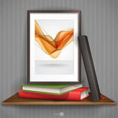 Wood Shelf With Photo Frame. — Stock Vector