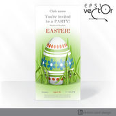 Easter Background With Eggs In Grass. — Vector de stock