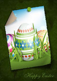 Easter Background With Eggs In Grass. — Stock Vector