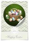 Easter Background With A Basket — Vector de stock