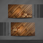 Business Card Design With Wood Texture. — Vector de stock
