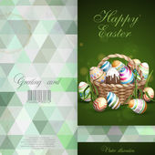 Easter Background With A Basket Full Easter Eggs. — Stock Vector