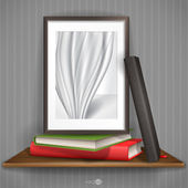 Wood Shelf With Photo Frame — Stock Vector