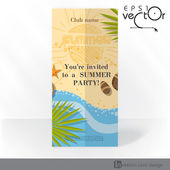 Party Invitation Card Design, Template — Stock Vector