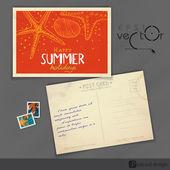 Eski kartpostal tasarımı, şablon — Stok Vektör
