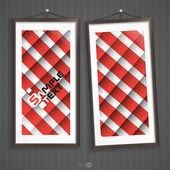 Two  Frames Of Picture On A Striped Old Wall — Stock Vector