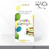 Party Invitation Card Design, Template — Stock Vector