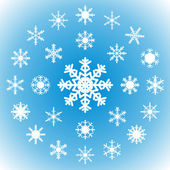 Snowflakes on a blue background - set of 25 pieces. — Stock Vector